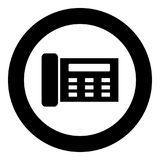 Fax black icon in circle. Vector illustration isolated Royalty Free Stock Photos