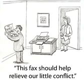Fax conflict. Boss gets into fight over fax Stock Photography