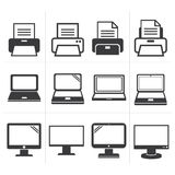 Fax d'équipement de bureau d'icône, ordinateur portable, imprimante Images stock