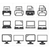Fax dei mobili d'ufficio dell'icona, computer portatile, stampante Immagini Stock