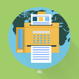 Fax icon in flat design. Fax icon with map in flat design. Set for web and mobile applications of office work Royalty Free Stock Photography