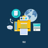 Fax icon in flat design. Fax icon with map in flat design. Set for web and mobile applications of office work Stock Image