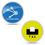 Fax icon and social web contact icon on white background  Stock Photos