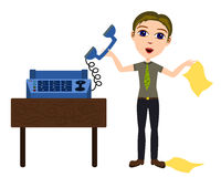 Fax machine. A humorous cartoon illustration of a man wondering how to operate a fax machine Stock Image