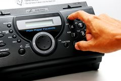 Fax machine. Smart focus a black fax machine in the office Stock Photo