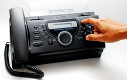 Fax machine. Smart focus a fax machine image on the white background Royalty Free Stock Image
