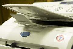 Fax machine close crop Stock Photo