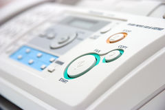 Fax machine closeup Stock Images