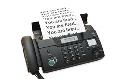 Fax machine with dismissal notification Stock Photo