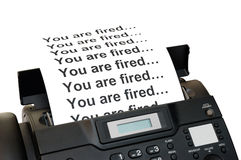 Fax machine with dismissal notification Royalty Free Stock Photo