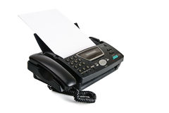 Fax machine with document Royalty Free Stock Photos