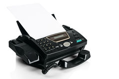 Fax machine with document Stock Photo