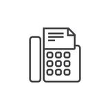 Fax machine line icon, telefax outline  logo illustration,. Linear pictogram isolated on white Stock Photos