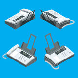 Fax machine, office equipment. Flat 3d vector isometric illustration. Royalty Free Stock Photos