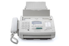 Fax machine. Retro fax machine on white royalty free stock photography
