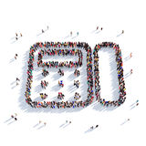 Fax people 3d. Large and creative group of people gathered together in the form of a fax. 3D illustration, isolated against a white background. 3D-rendering Royalty Free Stock Photos