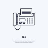 Fax phone with paper page flat line icon. Wireless technology, office equipment sign. Vector illustration of. Communication devices for electronics store Stock Photography