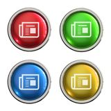 Fax glass button. Fax round shiny 4 color web icons with metal frame,3d rendered isolated on white background Stock Images