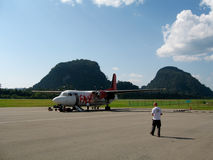 FAX turboprop plane in Mulu on runway Stock Photo