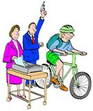 Fax versus Messenger. Business or legal cartoon portraying the start of a race between a fax machine and a bike messenger Stock Photo