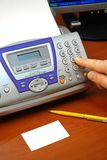 Faxapparaat en adreskaartje Stock Fotografie