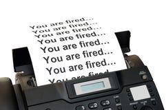 Faxapparaat met ontslagbericht Royalty-vrije Stock Foto