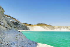 Faxe Limestone Quarry. The Major Part of this Limestone Quarry is still in function, but the Eldest parts are laid out for the Public. It is possible to find Royalty Free Stock Image