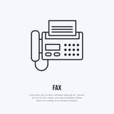 Faxtelefon med den pappers- sidalägenhetlinjen symbol Trådlös teknologi, tecken för kontorsutrustning Vektorillustration av Arkivbild