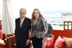 Faye Dunaway. CANNES, FRANCE - MAY 15: Faye Dunaway and Frederic Mitterrand receive the Order Of Arts And Letters Medal at Cafe des Palmes during the 64th Cannes royalty free stock photos