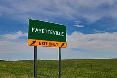 US Highway Exit Sign for Fayetteville. Fayetteville `EXIT ONLY` US Highway / Interstate / Motorway Sign stock images