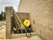FAYETTEVILLE, NC - CIRCA April 2019 : Outdoor Janitorial station in disarray mess. Outdoor Janitorial station in disarray mess stock photos