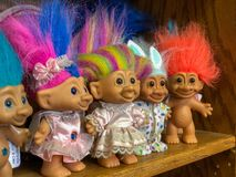 FAYETTEVILLE, NC - CIRCA April 2019 : Troll Dolls for Sale on Shelf stock photography