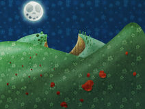 Fayritale landscape. Under the moon with hearts Royalty Free Stock Photo