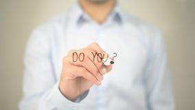 Faz você? , escrita do homem na tela transparente Imagens de Stock