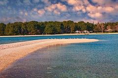 Fazana, Istria, Croatia: landscape of the bay at sunset Stock Images