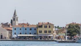 Fazana's Harbour. Frontview through the Adriatic Sea of Fazana, in Croatia royalty free stock photo