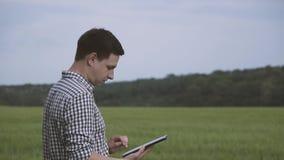 Fazendeiro com cabelo preto e a camisa quadriculado de а que estão no campo do trigo verde e que trabalham com uma tabuleta no c video estoque