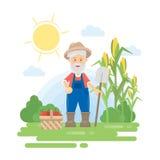 Fazendeiro com colheita ilustração stock