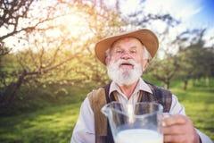 Fazendeiro com jarro de leite fotografia de stock