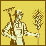 Fazendeiro com o Woodcut do ancinho e do trigo ilustração royalty free