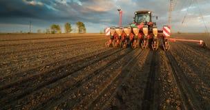 Fazendeiro com semeação do trator - a sementeira colhe no campo agrícola imagens de stock