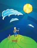 Fazendeiro da cume do dia ensolarado Imagem de Stock