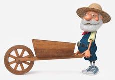 fazendeiro da ilustração 3d com um caminhão de madeira grande Fotos de Stock