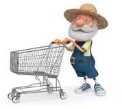 fazendeiro da ilustração 3d com um carrinho de compras grande Imagem de Stock Royalty Free