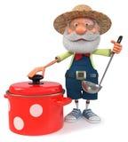 fazendeiro da ilustração 3d com um grandes potenciômetro e concha Imagem de Stock Royalty Free
