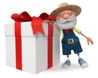 fazendeiro da ilustração 3d com um presente grande Fotos de Stock