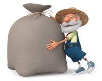 fazendeiro da ilustração 3d com um saco grande Imagens de Stock