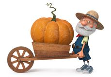 fazendeiro da ilustração 3d com uma abóbora grande Fotografia de Stock