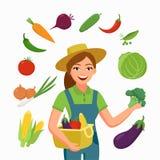 Fazendeiro da menina e vários vegetais no estilo liso dos desenhos animados isolados no fundo branco Negócio do cultivo e da agri ilustração royalty free