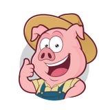 Fazendeiro de porco que dá os polegares acima no quadro redondo Imagens de Stock Royalty Free